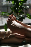 Spa Feet. A reflexology session at an upscale day spa royalty free stock photo