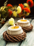 Spa Floating Burning Candles Stock Images