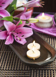 Spa Floating Burning Candles Royalty Free Stock Photo