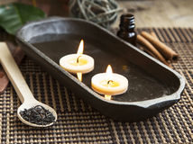 Spa Floating Burning Candles Stock Photography