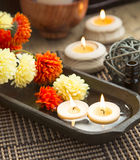 Spa Floating Burning Candles Stock Photos