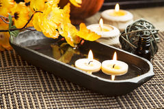 Spa Floating Burning Candles Stock Image