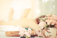 Spa flower and objects background. Spa flower and objects with massage background Stock Photo