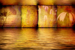 Spa flower paintings in gilded aquatic background. Pictures of exotic flowers in golden water background Stock Photo