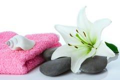 Spa flower stone towel Stock Photos
