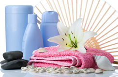 Spa flower stone towel fun Stock Photo