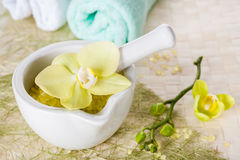 Spa with flowers orchids Stock Images