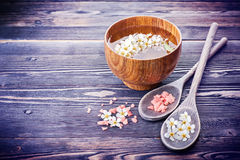 SPA with flowers and sea salt. Stock Photo