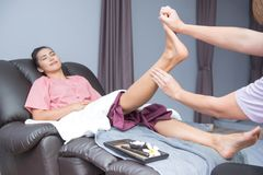 Spa and foot massage. Spa and Thai foot massage, beautiful woman relaxing and healthy of aromatherapy Royalty Free Stock Photos