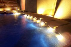 Spa fountain. Spa on the roof of a building at night Royalty Free Stock Photography