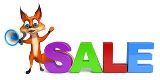 Spaß Fox-Zeichentrickfilm-Figur mit Lautsprecher und großer Verkauf unterzeichnen Lizenzfreie Stockfotografie