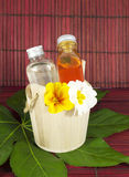 Spa fragrances. With colored flowers Royalty Free Stock Images