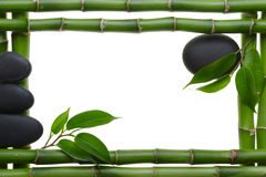 Spa frame. Bamboo stem ,leaves and stones Stock Photo