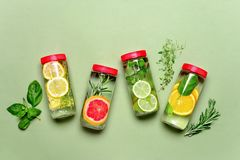 Spa fruits and herbs bottled infused water royalty free stock images