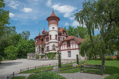 Spa garden herrsching with beautiful castle. Upper bavaria stock photography