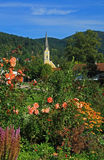 Spa gardens schliersee and church, bavarian health resort Stock Images