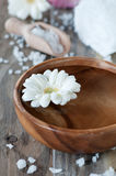 Spa with gerbera. Spa with white gerbera and salt, selective focus Stock Photo