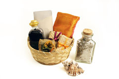 Spa gift basket. Gift basket filled with bath products Stock Photos