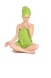 Spa Girl. Beautiful Young Woman After Bath With Green Towel. Isolated On White Royalty Free Stock Photography