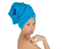 Spa Girl. Beautiful Young Woman After Bath with blue towel. isolated on white Royalty Free Stock Photo