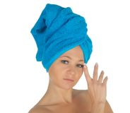 Spa Girl. Beautiful Young Woman After Bath with blue towel. isolated on white Stock Photo
