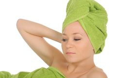 Spa Girl. Beautiful Young Woman After Bath with green towel. isolated on white Stock Photos