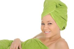 Spa Girl. Beautiful Young Woman After Bath with green towel. isolated on white Royalty Free Stock Photos