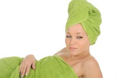 Spa Girl. Beautiful Young Woman After Bath with green towel. isolated on white Royalty Free Stock Photo