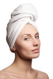 Spa girl. Beautiful young woman after bath. Perfect skin. Skincar Royalty Free Stock Images