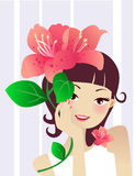 Spa girl with flower. Closeup of young attractive woman enjoy flower Stock Photos