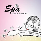 Spa Girl. Hand-drawn beautiful young girl and flowers. Vector illustration. 10 EPS Royalty Free Stock Photography