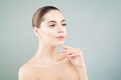 Spa Girl with Healthy Skin, Skincare, Facial Treatment Royalty Free Stock Image