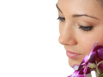 Spa girl with orchid portrait Royalty Free Stock Photo