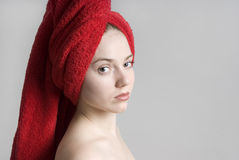 Spa girl with a red towel Royalty Free Stock Images
