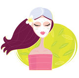 Spa girl with regeneration facial mask royalty free illustration