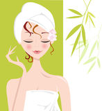 Spa Girl relaxing with Towel Wrap Royalty Free Stock Image