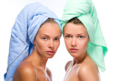 spa girls after bath stock photos