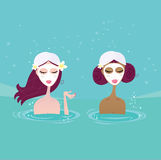 Spa girls relaxing in water pool. Beautiful girl talking in pool. Vector Illustration Royalty Free Stock Image