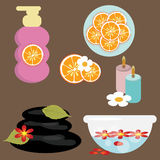 Spa graphic elements. Spa themed graphics including all the zen elements against a dark background Royalty Free Stock Photos