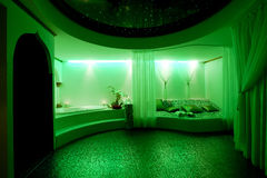SPA in green. Private SPA in a green LED lights Royalty Free Stock Image