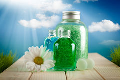 Spa green minerals and beautiful flower Royalty Free Stock Photography