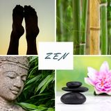 Spa green theme photo collage composed of different images. Spa green theme photo collage composed of different zen images stock images