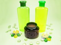 Free Spa Hair Shampoo Oil Candles Stock Photography - 17597792
