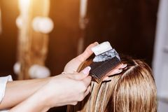 Spa hair treatment, hairdresser applies a white mask to the clients long dark hair. Spa, care, beauty and people concept. Spa hair treatment, hairdresser applies stock photos