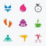 Spa, hairdressing icons. Swimming pool sign. Royalty Free Stock Photography
