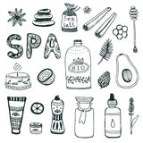 Spa hand dawn collection. Beauty icon set. Vector original illustration. Royalty Free Stock Photo