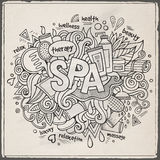 Spa hand lettering and doodles elements background Royalty Free Stock Photos