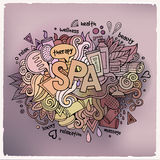 Spa hand lettering and doodles elements background Stock Photos