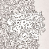 Spa hand lettering and doodles elements background Royalty Free Stock Photo
