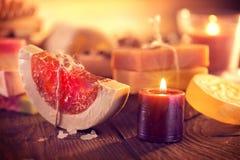 Spa. Handmade organic soap closeup Royalty Free Stock Photo